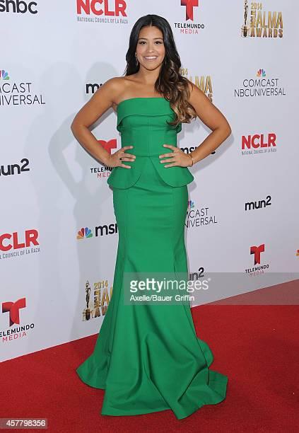 Actress Gina Rodriguez arrives at the 2014 NCLR ALMA Awards at Pasadena Civic Auditorium on October 10 2014 in Pasadena California