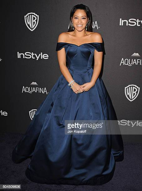 Actress Gina Rodriguez arrives at the 2016 InStyle And Warner Bros. 73rd Annual Golden Globe Awards Post-Party at The Beverly Hilton Hotel on January...