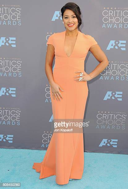 Actress Gina Rodriguez arrives at The 21st Annual Critics' Choice Awards at Barker Hangar on January 17 2016 in Santa Monica California