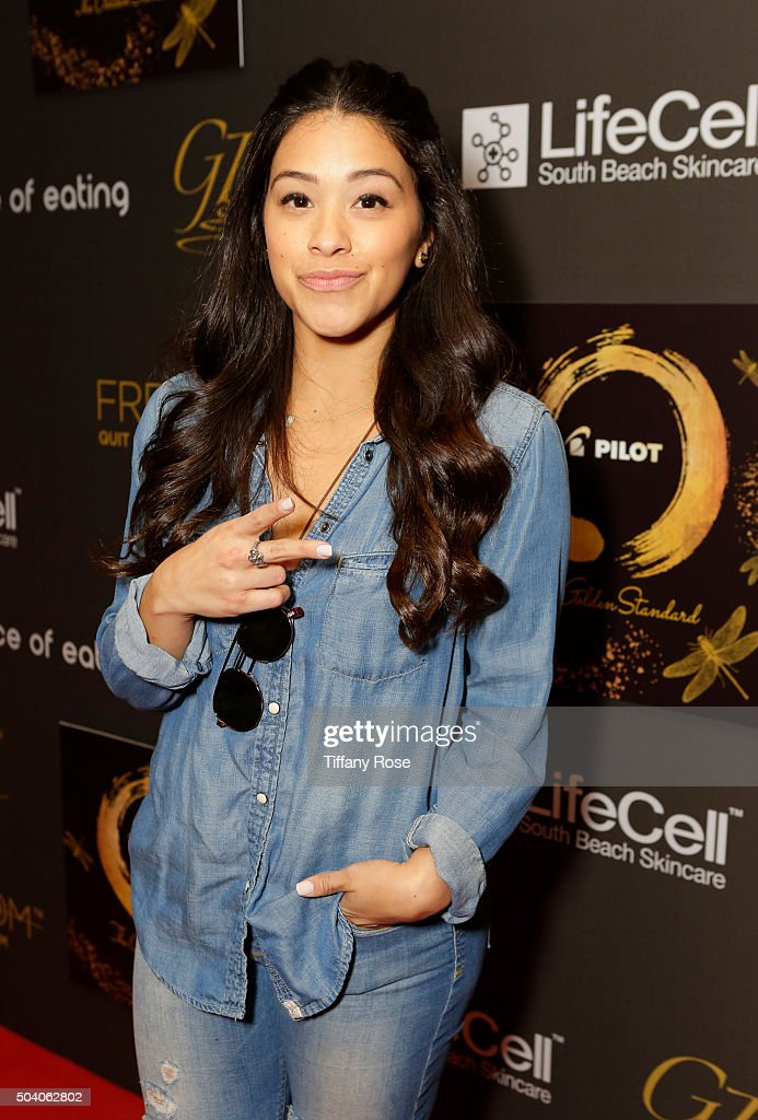 Actress Gina Rodriguez arrives at the GBK & Pilot Pen Golden Globes 2016 Luxury Lounge - Day 1 at W Hollywood on January 8, 2016 in Hollywood, California.