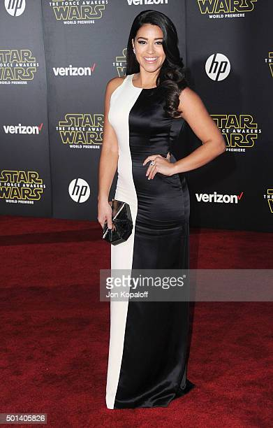 Actress Gina Rodriguez arrives at the Los Angeles Premiere 'Star Wars The Force Awakens' on December 14 2015 in Hollywood California