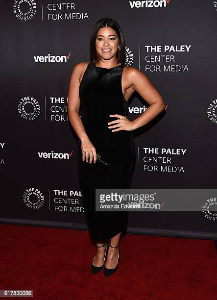 Actress Gina Rodriguez arrives at The Paley Center for Media's Hollywood Tribute to Hispanic Achievements in Television event at the Beverly Wilshire...