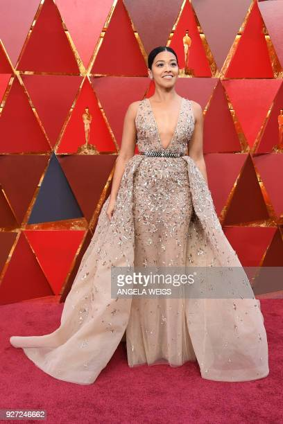 US actress Gina Rodriguez arrives for the 90th Annual Academy Awards on March 4 in Hollywood California / AFP PHOTO / ANGELA WEISS