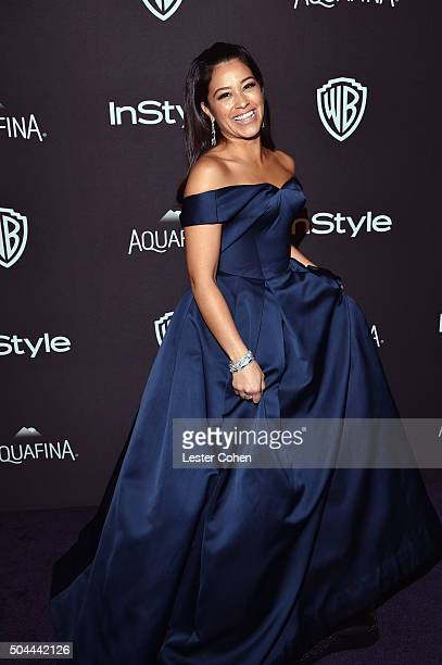 Actress Gina Rodriguez attends InStyle and Warner Bros 73rd Annual Golden Globe Awards PostParty at The Beverly Hilton Hotel on January 10 2016 in...