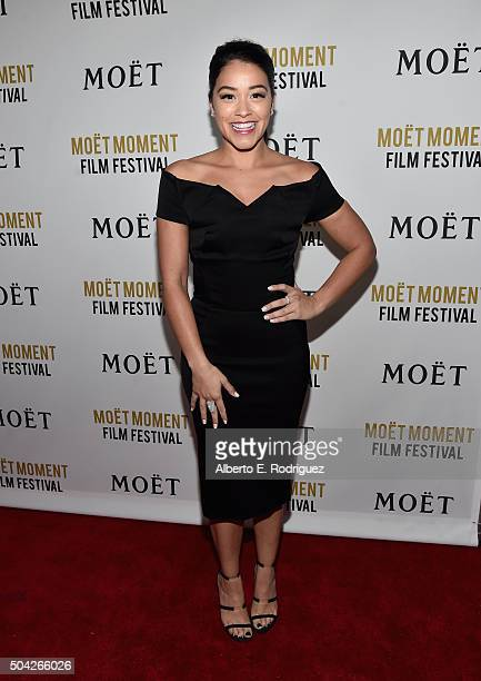 Actress Gina Rodriguez attends Moet Chandon Celebrates 25 Years at the Golden Globes on January 8 2016 in West Hollywood California