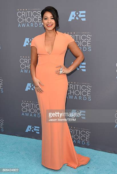 Actress Gina Rodriguez attends the 21st Annual Critics' Choice Awards at Barker Hangar on January 17 2016 in Santa Monica California