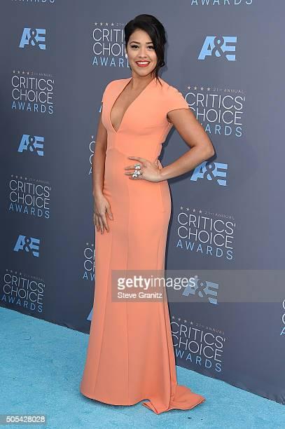Actress Gina Rodriguez attends the 21st Annual Critics' Choice Awards at Barker Hangar on January 17 2016 in Santa Monica California