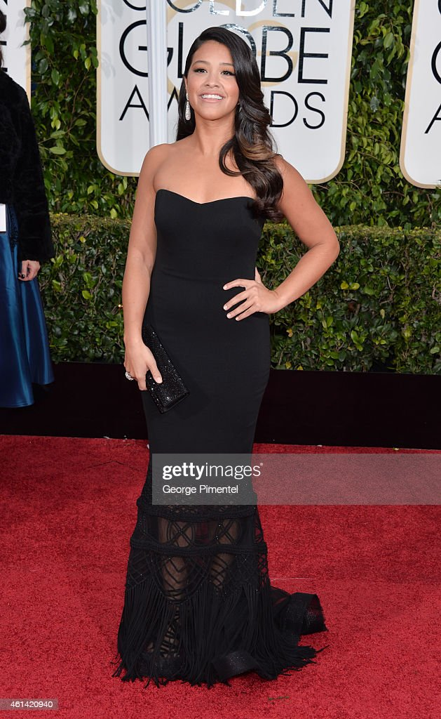 Actress Gina Rodriguez attends the 72nd Annual Golden Globe Awards at The Beverly Hilton Hotel on January 11, 2015 in Beverly Hills, California.