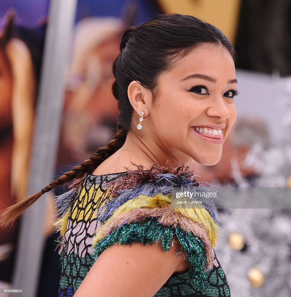 Actress Gina Rodriguez attends the premiere of 'The Star' at Regency Village Theatre on November 12, 2017 in Westwood, California.