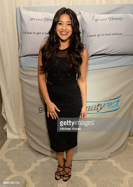 Actress Gina Rodriguez got her beauty rest with Beautyrest Mattresses at EXTRA's 'WEEKEND OF | LOUNGE' produced by On 3 Productions at The London...