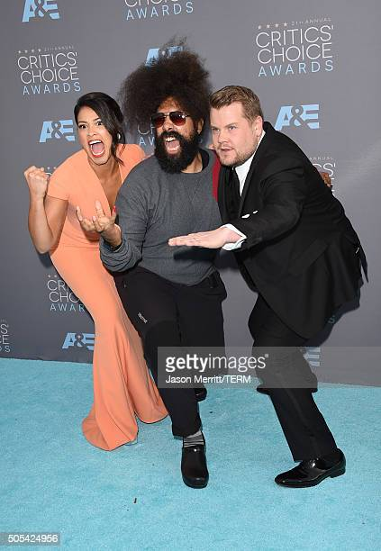 Actress Gina Rodriguez musician Reggie Watts and tv personality James Corden attend the 21st Annual Critics' Choice Awards at Barker Hangar on...