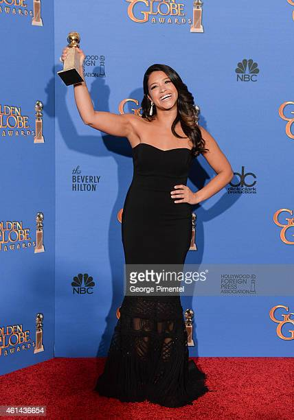 Actress Gina Rodriguez poses in the press room during the 72nd Annual Golden Globe Awards at The Beverly Hilton Hotel on January 11 2015 in Beverly...