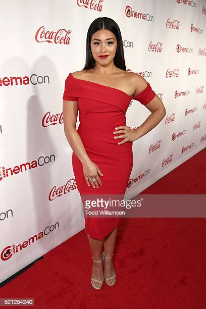 Actress Gina Rodriguez, recipient of the Female Star of Tomorrow Award, attends the CinemaCon Big Screen Achievement Awards brought to you by the...