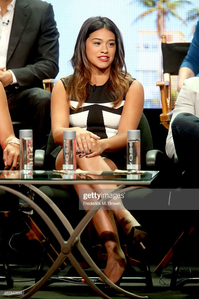 Actress Gina Rodriguez speaks onstage at the 'Jane The Virgin' panel during the CW Network portion of the 2014 Summer Television Critics Association at The Beverly Hilton Hotel on July 18, 2014 in Beverly Hills, California.
