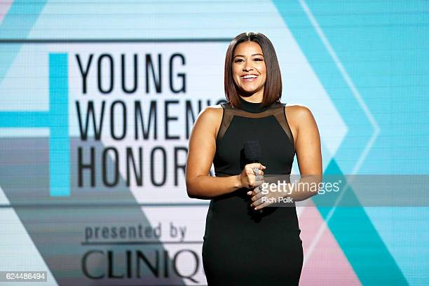 Actress Gina Rodriguez speaks onstage during the Marie Claire Young Women's Honors presented by Clinique at Marina del Rey Marriott on November 19...