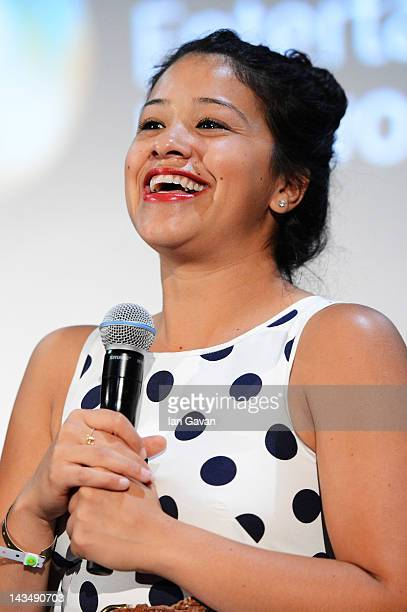 Actress Gina Rodriguez speask at the Filly Brown screening and QA during Sundance London at Cineworld 02 Arena on April 27 2012 in London England