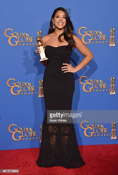 Actress Gina Rodriguez winner of Best Actress in a TV Series Musical or Comedy for 'Jane the Virgin' poses in the press room during the 72nd Annual...