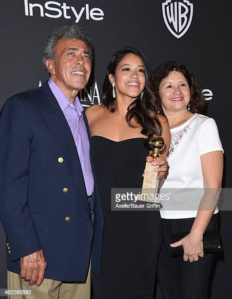 Actress Gina Rodriguez with parents Magali Rodriguez and Genaro Rodriguez arrive at the 16th Annual InStyle and Warner Bros Golden Globe AfterParty...