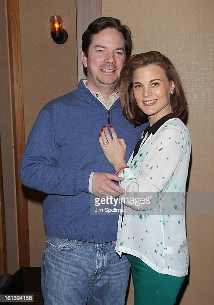 Actress Gina Tognoni and husband attend the Spontaneous Construction premiere at Guys American Kitchen Bar on February 10 2013 in New York City