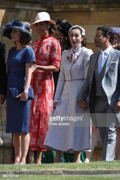Actress Gina Torres and guests arrive at the wedding of Prince Harry to Ms Meghan Markle at St George's Chapel Windsor Castle on May 19 2018 in...