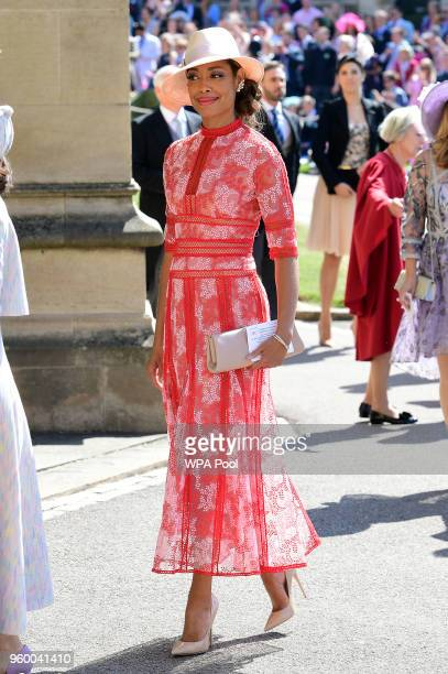 Actress Gina Torres arrives at St George's Chapel at Windsor Castle before the wedding of Prince Harry to Meghan Markle on May 19 2018 in Windsor...