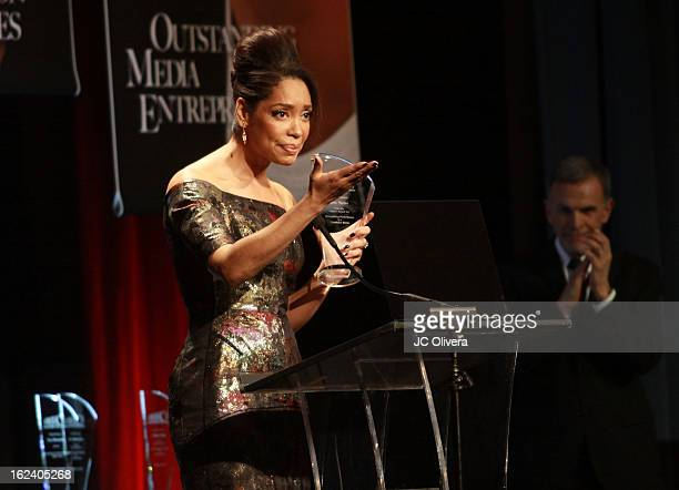 Actress Gina Torres speaks at the National Hispanic Media Coalition's 16th Annual Impact Awards Gala at the Beverly Wilshire Four Seasons Hotel on...