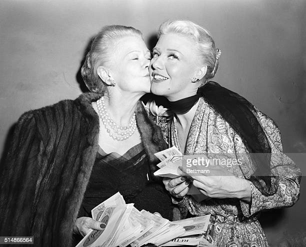 Actress Ginger Rogers is congratulated by her mother Lela Rogers after Ginger's firstnight performance in the play Love and Let Love