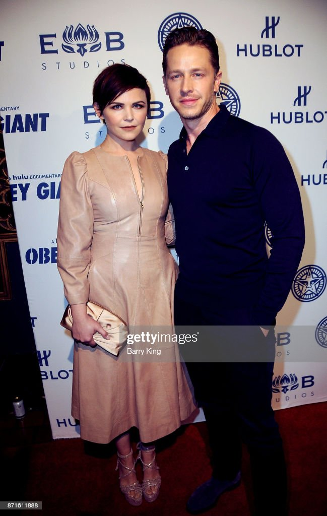 Actress Ginnifer Goodwin and actor Josh Dallas attend photo op for Hulu's 'Obey Giant' at The Theatre at Ace Hotel on November 7, 2017 in Los Angeles, California.