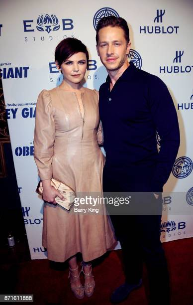 Actress Ginnifer Goodwin and actor Josh Dallas attend photo op for Hulu's 'Obey Giant' at The Theatre at Ace Hotel on November 7 2017 in Los Angeles...