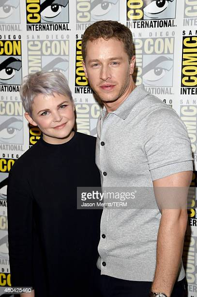 Actress Ginnifer Goodwin and actor Josh Dallas attend the Once Upon A Time press room during ComicCon International 2015 at the Hilton Bayfront on...