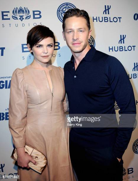 Actress Ginnifer Goodwin and husband actor Josh Dallas attend the photo op for Hulu's 'Obey Giant' at The Theatre at Ace Hotel on November 7 2017 in...