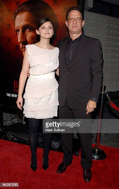 Actress Ginnifer Goodwin and producer/actor Tom Hanks arrive at the 3rd season Los Angeles premiere of Big Love at The Cinerama Dome on January 14...