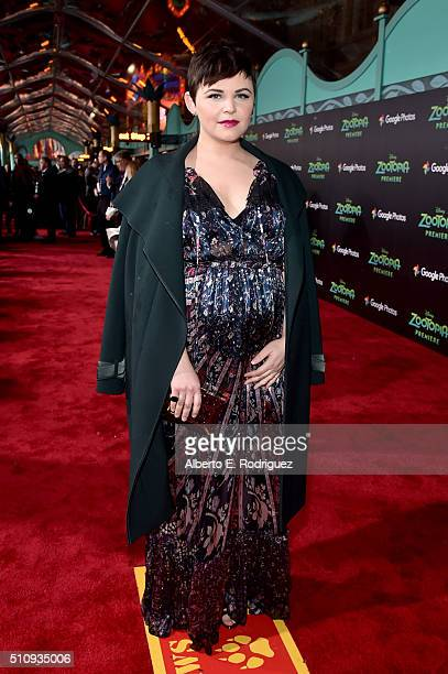 Actress Ginnifer Goodwin attends the Los Angeles premiere of Walt Disney Animation Studios' 'Zootopia' on February 17 2016 in Hollywood California