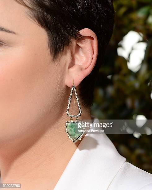 Actress Ginnifer Goodwin earring detail arrives at the John Varvatos 13th Annual Stuart House Benefit presented by Chrysler with kids' tent by Hasbro...
