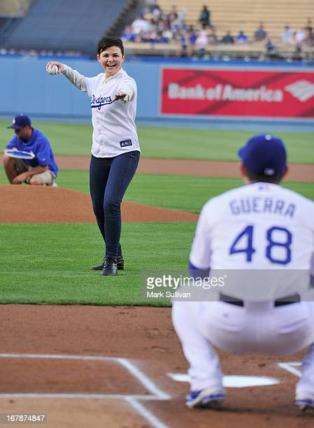 Actress Ginnifer Goodwin throws out the ceremonial first pitch at Dodger Stadium on May 1 2013 in Los Angeles California