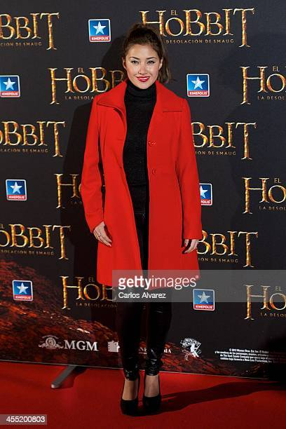 Actress Giselle Calderon attends the The Hobbit The Desolation of Smaug premiere at the Kinepolis cinema on December 11 2013 in Madrid Spain
