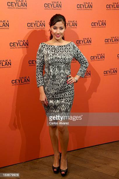 Actress Giselle Calderon attends the Viaje A Ceylan parfum presentation by Adolfo Dominguez on October 10 2012 in Madrid Spain