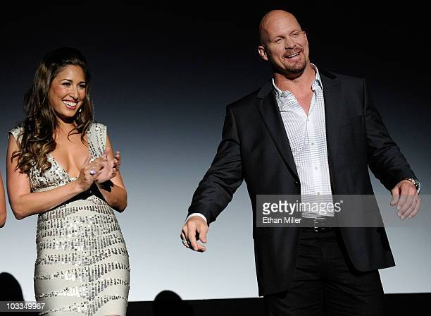 Actress Giselle Itie and actor Steve Austin are introduced at a screening of Lionsgate Films' The Expendables at the Planet Hollywood Resort Casino...