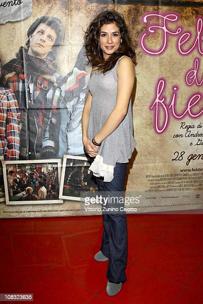 Actress Giulia Michelini attends the Febbre da fieno premiere held at Cinema Orfeo on January 25 2011 in Milan Italy