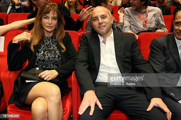Actress Giuliana De Sio and director Vincenzo Marra attend 'L'Amministratore' Premiere during The 8th Rome Film Festival at the Auditorium Parco...