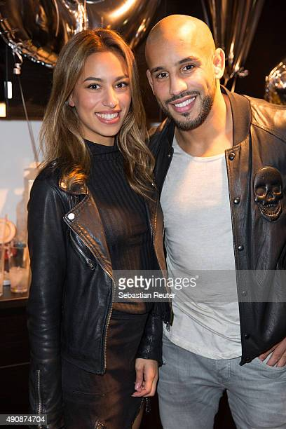 Actress Gizem Emre and Abu Azaitar attend the 1st year anniversary celebrations of Tres Click on October 1 2015 in Hamburg Germany