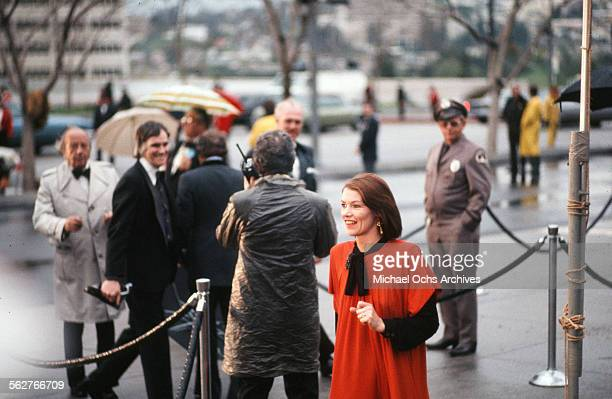 Actress Glenda Jackson arrives to the 47th Academy Awards at Dorothy Chandler Pavilion in Los Angeles,California.