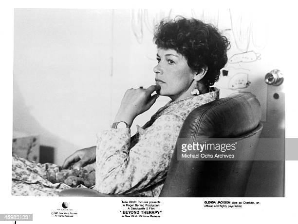 Actress Glenda Jackson on set of the movie Beyond Therapy circa 1987