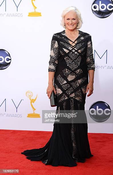 Actress Glenn Close arrives at the 64th Primetime Emmy Awards at Nokia Theatre LA Live on September 23 2012 in Los Angeles California