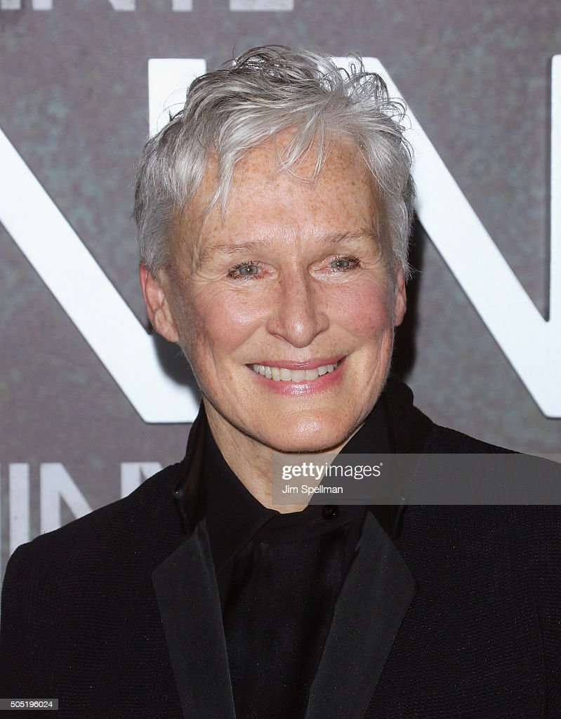 Actress Glenn Close attends the 'Vinyl' New York premiere at Ziegfeld Theatre on January 15, 2016 in New York City.