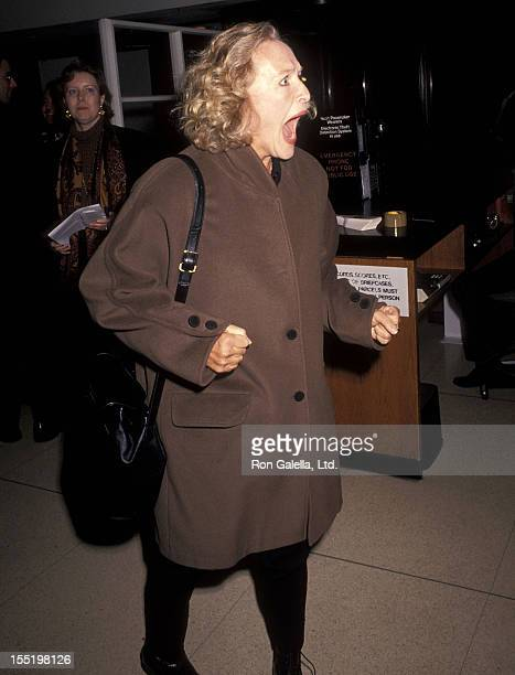 Actress Glenn Close attends the Waterland New York City Premiere on October 12 1992 at Bruno Walter Auditorium Lincoln Center in New York City