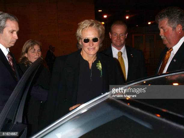Actress Glenn Close leaves the memorial for the late Christopher Reeve October 29 2004 held at the Julliard School in Lincoln Center in New York City