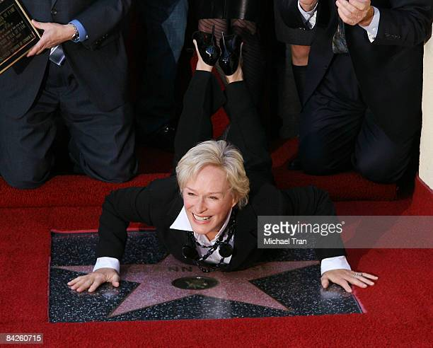 Actress Glenn Close poses for the media at the ceremony honoring her with a star on the Hollywood Walk of Fame on January 12 2009 in Hollywood...