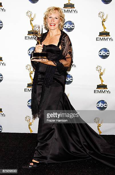 """Actress Glenn Close poses in the press room with her Emmy for Best Lead Actress in a Drama Series for """"Damages"""" during the 60th Primetime Emmy Awards..."""