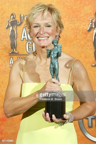 Actress Glenn Close poses the Actor for Outstanding Performance by a Female Actor in a Television Movie or Miniseries in the press room at the 11th...